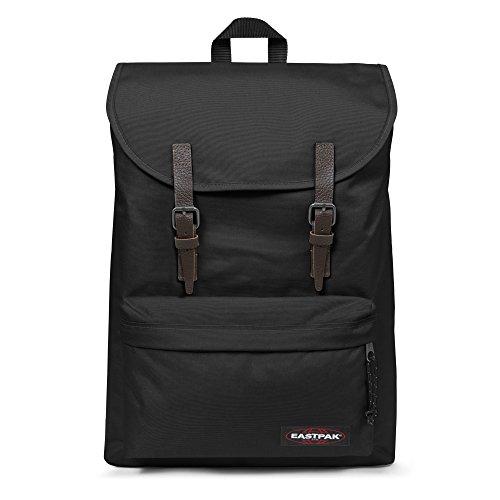 Eastpak London - Rucksack für Laptops und Netbooks (schwarz, einfarbig, Nylon, Fronttasche, Kordelzug)
