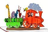 MOKIO® Pop-Up Geburtstagskarte – Dampflok Karte für Kinder: Eisenbahn mit bunten Tieren – 3D Karte zum Geburtstag, handgefertigte Klappkarte mit Umschlag