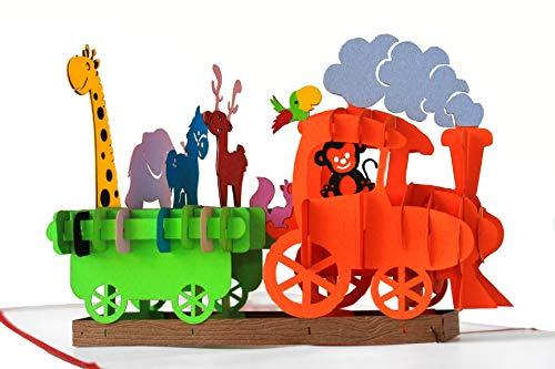 Pop-Up Geburtstagskarte – Dampflok Karte für Kinder: Eisenbahn mit bunten Tieren – 3D Karte zum Geburtstag, handgefertigte Klappkarte mit Umschlag