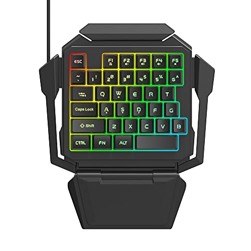 One Hand Gaming Keyboard, RGB Backlit 35 Keys Portable Mini Gaming Keyboard USB Wired with Wrist Rest, Half Gaming Keyboard Suitable for Gaming