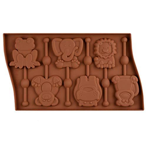 WYJBD 27.5x16.5cm 6 Lollipop Forme Cavity Animal Silicone Moule Grenouille Singe Chocolat Moules Bonbons gâteau Stencil Cuisson Accessoires Outils de décoration