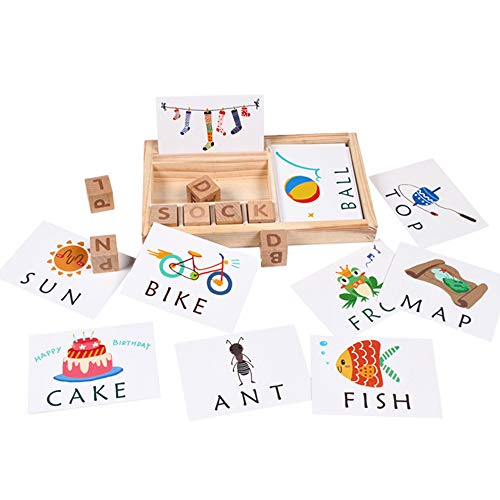 Wooden Develops Alphabet Words Spelling Letter Block for Girls Boys Gift, Preschool Learning Toys, Matching Letter Game (30pcs Cards)