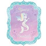 8 Einladungen * Schimmernde MEERJUNGFRAU * für Kindergeburtstag und Motto-Party | Einladungskarten Karten Umschläge Sirene Nixe Fantasy Ozean Meer Mottoparty Kinder Geburtstag Deko Dekoration