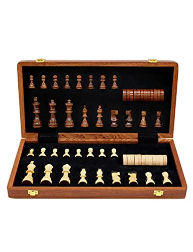 Juego de Juegos de ajedrez de Madera, clásico 2-en-1, 2 Reinas adicionales, Tablero de ajedrez magnético Plegable y Piezas, Haya 15 en, Regalo para niños al Aire Libre