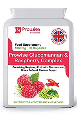 Glucomannan and Raspberry Complex Advance Formulation 1000mg - 60 Capsules   UK Manufactured   GMP Standards by Prowise Healthcare