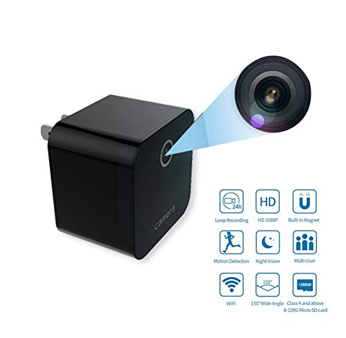 Futursd USB Charger Mini Camera WiFi Verborgen Camera Draagbare 1080P Draadloze Kleine Indoor Thuis Beveiliging USB Oplader Camera Nanny Cam met Bewegingsdetectie (kleur : Zwart)