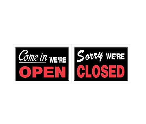 Hillman 839916 Come In We're Open, Sorry We're Closed 2 Sided Reversible Sign, Black, Red and White Plastic, 8x12 Inches 1-Sign