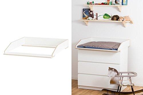 Wickelaufsatz Aufsatz für Ikea Malm Kommode stabiles Holz (keine Spanplatte) sichere Wand- u. Kommodenbefestigung abgerundete Ecken Kippschutz Wickelauflagen Breite 77 cm (passgenau) und 80 cm