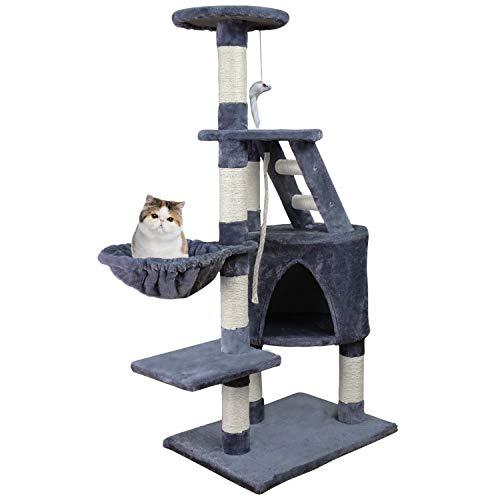 HB Katzenbaum Kratzbaum für Katzen Katzenhöhle Mittelhoch 120 cm, Katzenkratzbaum mit Hängematte, Haus, Treppe Spielsisal und Plattformen, Grau