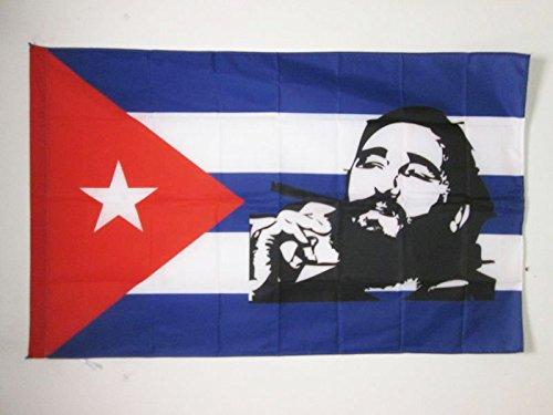 AZ FLAG Flagge Kuba MIT FIDEL Castro 90x60cm - KUBANISCHE Fahne 60 x 90 cm Scheide für Mast - flaggen Top Qualität