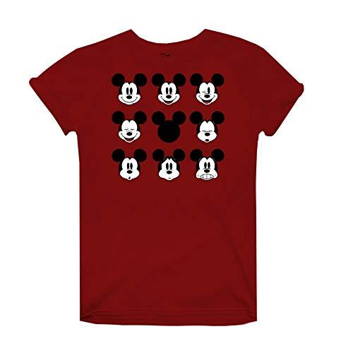 Disney Mickey Mouse Face Camiseta, Rojo (Cardinal Red Car), 40 (Talla del Fabricante: Medium) para Mujer
