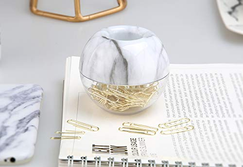 """Magnetic Paper Clip Holder,Marble White Holder with Gold Paper Clips 100pcs 28mm(1.1"""") Cute Office Supplies for Desk Organizer"""