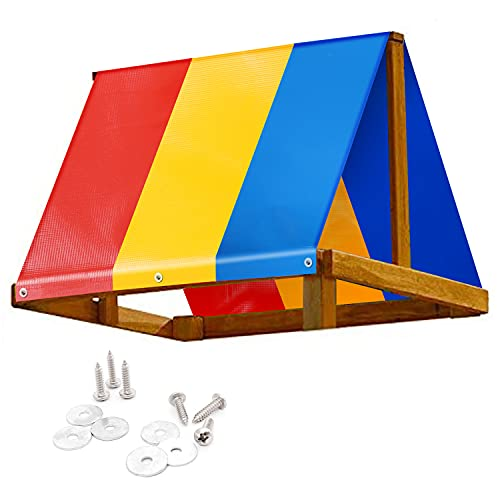 """Swing Set Replacement Tarp 52"""" × 90"""", Colorful Playground Roof, Multicolor Backyard Playset Canopy Replacement 52 × 90 in, Kids Wooden Swingset Canvas Cover Replacement, Waterproof & UV Protection"""