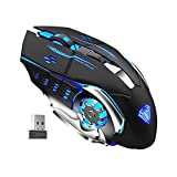AULA SC100 Rechargeable Gaming Mouse Wireless, with Side Buttons, LED Backlight, USB Receiver, Ergonomic Optical Metal 2.4G Cordless Mice for PC/MAC Laptop, Tablet, Desktop Computer Games/Work (Black)