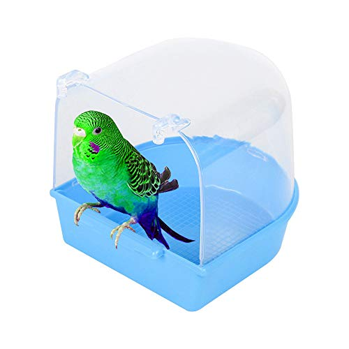 Bird Bath Cage Small Blue Bird Bath Tub Cover Shower Supplies for Cockatiel, Budgerigar, Macaw, Finch, Budgie, Parakeet, Conure, Canary, Parrots