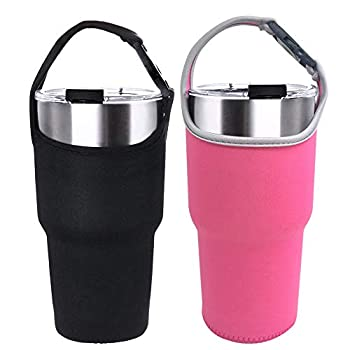 2 Pack Tumbler Carrier Holder Pouch for All 30oz Stainless Steel Travel Insulated Coffee Mug,DanziX Neoprene Sleeve with Carrying Handle,Fit for YETI Rambler Ozark Trail Rtic and More-Black,Rosy
