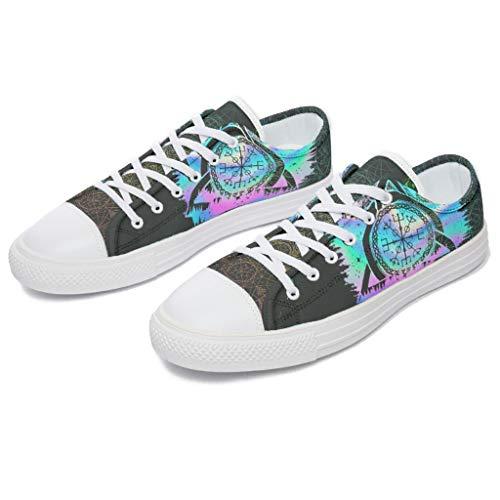 RNGIAN Damen Wikingerschuhe Segeltuch Klassisch Low Top Fashion Walking Sneakers für Mädchen, Weiß - weiß - Größe: 33 EU