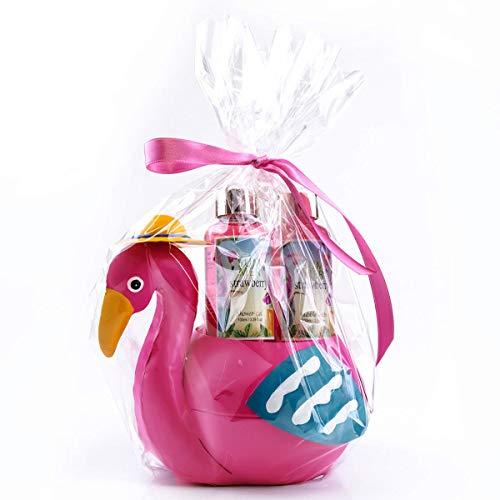 Flamingo Badeset für Frauen - Duschgel, Badeschaum & Netzschwamm - Erdbeere Duft