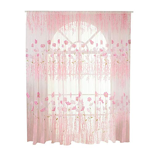 Tulle Voile Curtain Floral Pattern Window Blinds Drapes Panel Bedroom Living Room Interior Textile Decor (Pink)