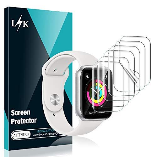 L K 6 Pack Protector de Pantalla para Apple Watch 40mm Series 4/5 y 38mm Series 1/2/3, HD Película de TPU Flexible [Sin Burbujas] [Funda Compatible] [Sin Bordes Elevados] [Instalación Fácil]