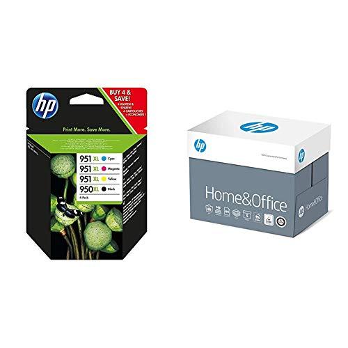 HP 950XL/951XL Multipack Original Druckerpatronen (Schwarz, Blau, Rot, Gelb) mit hoher Reichweite & Kopierpapier CHP150 Home & Office, DIN-A4 80g, 2500 Blatt, Weiß - Allround Kopierpapier