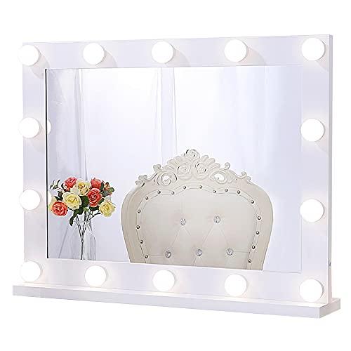 Chende Espejo de Maquillaje Hollywood con Luces para Pared, 80X60cm Espejo de Maquillaje Iluminado para Mesa de Dormitorio, Espejo LED Profesional Grande para Teatro con 14 Luces Regulables