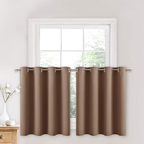 NICETOWN Short Curtains Blackout Panels - Thermal Insulated Light Reducing Drapes for Half Window (Cappuccino, 2 Pieces, 52W by 24L + 1.2 inches Header)