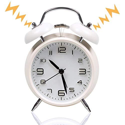 MAYO Reloj Despertador de Doble Campana con luz Nocturna, Gran Esfera de 4 Pulgadas, de Consumo de Batería, sin tictac, silencioso, Timbre de Alarma Retro, Unidad de Cuarzo (Blanco)