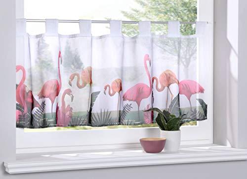 Gardinenbox Scheibengardine »Digital Druck« Voile Kurzgardine SChlaufen Transparent Digital Druck Küche Fenster Modern HxB 40x120 cm Flamingos, 10000262