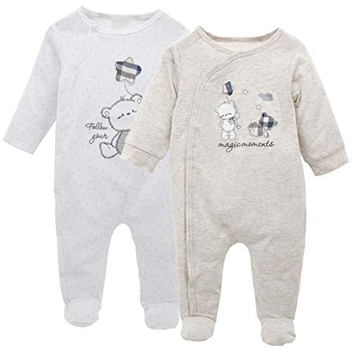 Baby Jungen Mädchen 2er-Pack Overall Baumwolle Strampler Langarm-Body Schlafanzug Spielanzug Neugeborenes Geschenk, 3-6 Monate