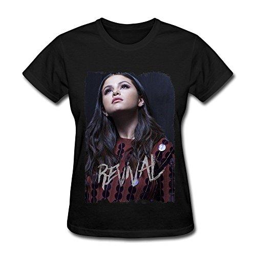 DAU Grossbull DA Selena Gomez Revival Tour Poster T Shirt for Women Black (Size:S)