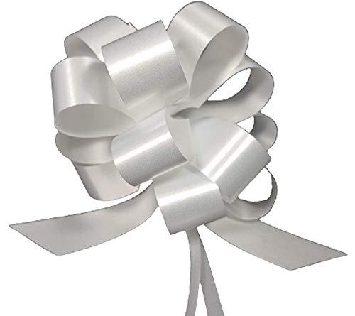 30 weiße Schleifen mit Zugband, 3 cm - ideal für Hochzeiten, für das Auto, zur Taufe, Diplom, Kommunion, Farbe: Weiß, Schleifenband-Breite: 10cm, leicht zu ziehen (weiß)
