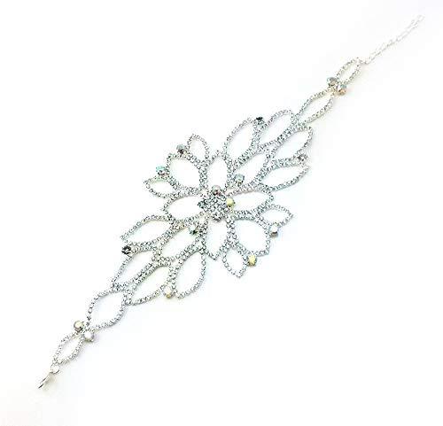 yueton Elegant DIY Rhinestones and Bead Wedding Applique Necklace Bracelet Accessory for Headwear, Epaulet, Arm, Sash