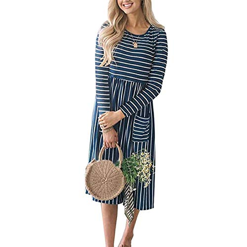 N\C Vestido de las Mujeres Primavera 2019 Rayas Playa Verano Vestidos Casual Manga Larga Midi Vestido con Bolsillos Mujeres O-cuello Vestido Túnica Femme XL