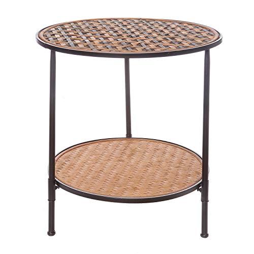 Tavolino rotondo, in metallo, bamb� e legno, da 55X50 cm Marrone