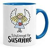 SpecialMe Schutzengel Namenstasse personalisierte Kaffee-Tasse mit Namen persönliche Geschenke blau Keramik-Tasse