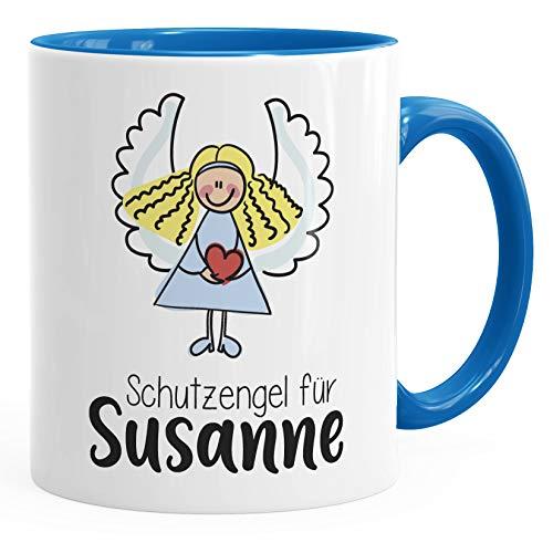 SpecialMe® Schutzengel Namenstasse personalisierte Kaffee-Tasse mit Namen persönliche Geschenke blau Keramik-Tasse