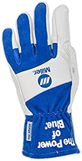 Welding Gloves, XL, Wing, 10In, BlueWhite, PR