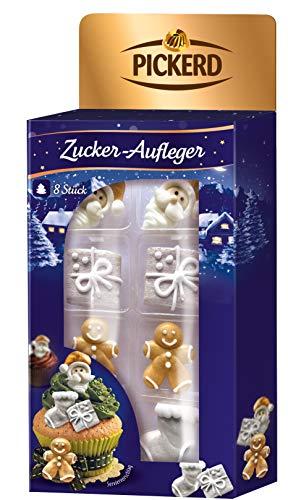 Zuckerdekor / Zucker - Aufleger GOLD - WEISSE WINTER MOTIVE (Essbar / 90 g - 8 Stück) BACK - DEKORATION