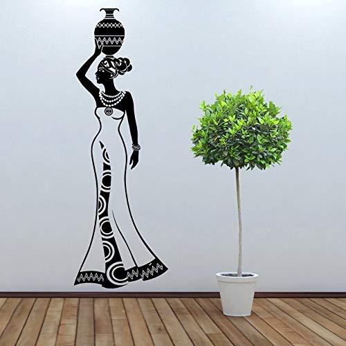 Yaonuli muursticker van vinyl, design van het model, decoratie voor Afrikaanse cultuur, vaas voor kruik in dansstijl