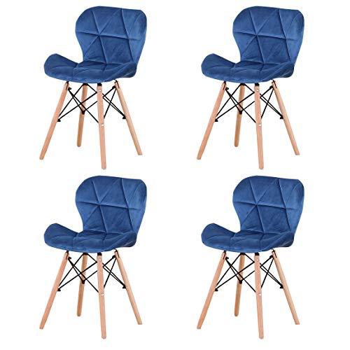 luckeu Pack de 4 Sillas de Comedor de Terciopelo Dorado, Sillas tapizadas con Pata de Madera, Estilo Retro Silla para la Sala de Estar del Dormitorio Oficina (Azul)