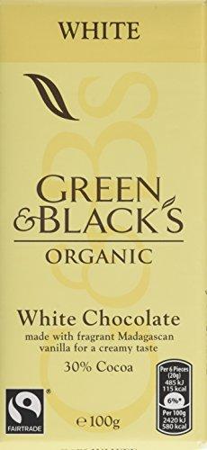 Green & Black's Organic White Chocolate Bar, 100 g, Pack of 5