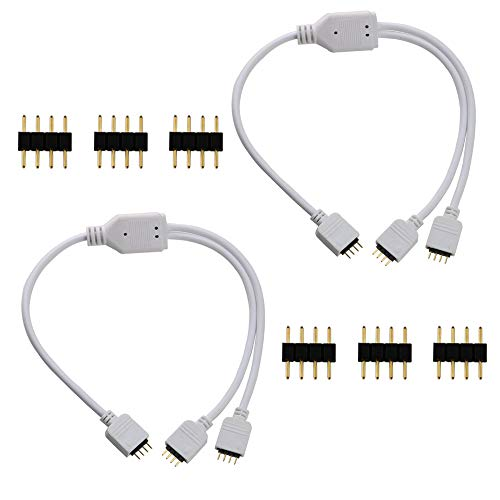 CESFONJER LED 4 Pin Splitter, 1 a 2 Puerto Divisor de Tira de LED Tira Divisor Cable Divisor de RGB para el LED de Color Cambio de Tira del RGB (2 Piezas)