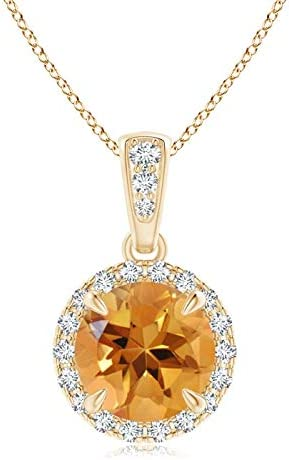 November Direct store Birthstone - Claw-Set Round with Diamon Challenge the lowest price of Japan ☆ Pendant Citrine