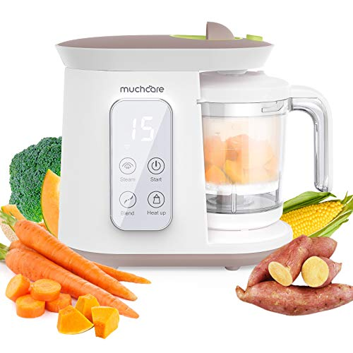 Baby Food Maker for Infants and Toddlers, Muchcare Baby Food Processor Blender Grinder Steamer, BPA Free, Self Cleans, Tritan Stirring Cup, Auto Shut-Off,Touch Screen Control