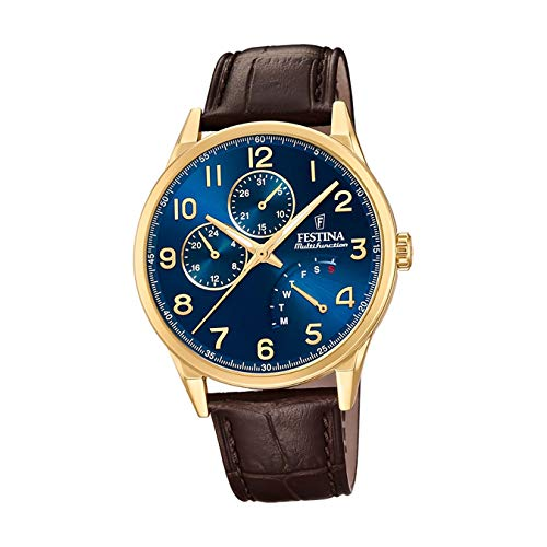 Festina Herren Multi Zifferblatt Quarz Uhr mit Leder Armband F20279/B