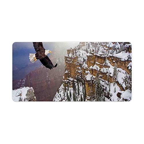 Extended Gaming Mouse Pad with Stitched Edges Keyboard MatNon-Slip Rubber Base Aerial View of Bald Eagle Flying in The Snow Covered Gr Canyon Rocky Arizona USA Desk Pad for Gamer Office 12x24 Inch