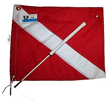 JCS Boat Dive Flag Mount with 20inch x 24inch Nylon Dive Flag