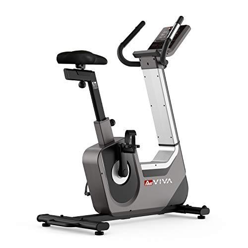 AsVIVA Heimtrainer Ergometer H25 Studio Pro – für Cardio, Bluetooth Konsole, 32 elektronische Widerstands-Stufen, 18kg Schwungmasse, 20 Trainingsprogramme, inkl. Polar Pulsgurt sowie Handpulssensoren