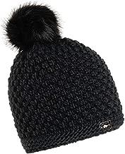 Turtle Fur Women's Snowfall Plush Fleece Lined Faux Pom Beanie, Black